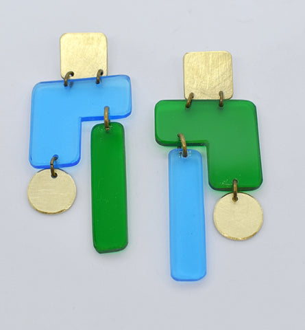 Inverness Earrings - Blue Green Transparent