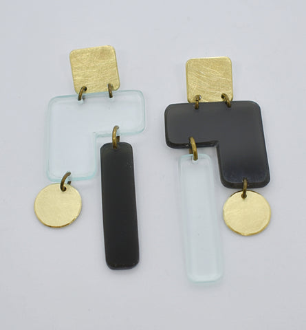 Inverness Earrings - Black Transparent