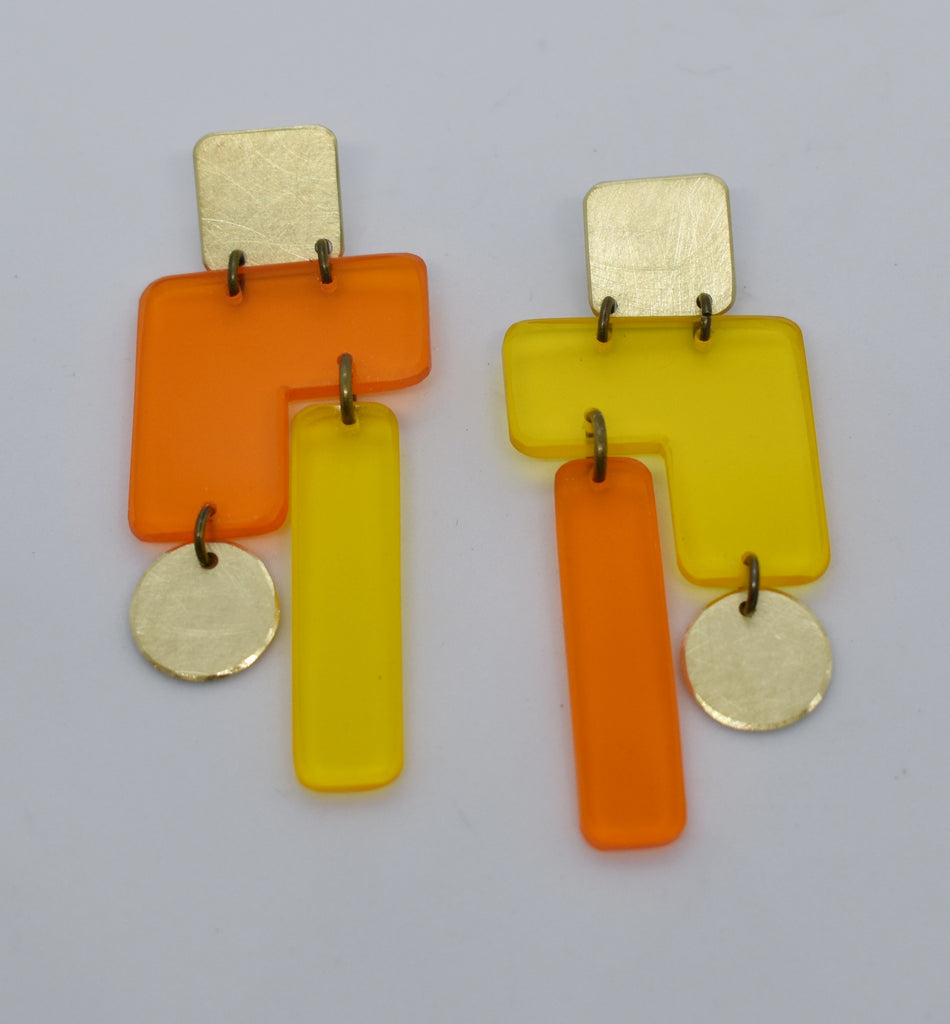 Inverness Earrings - Orange Yellow Transparent
