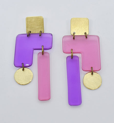 Inverness Earrings - Purple Pink Transparent