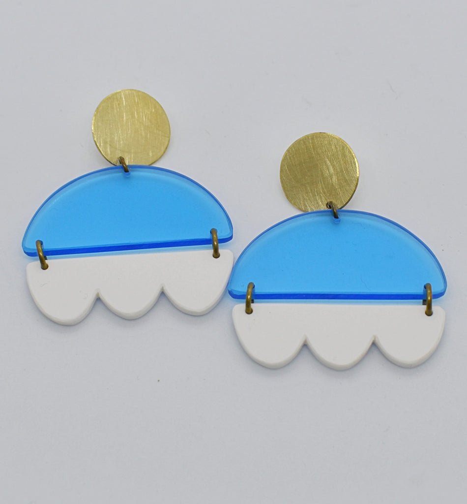 Marshall Earrings - Blue and White