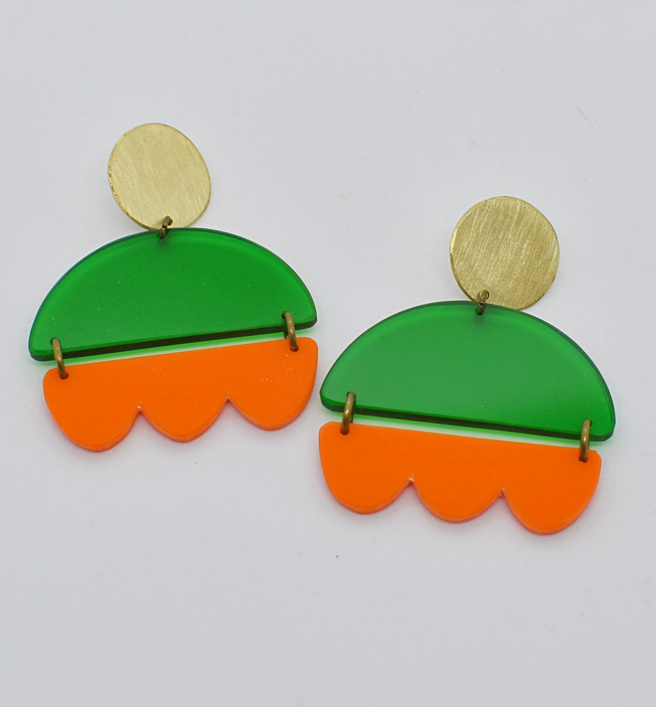 Marshall Earrings - Green and Orange