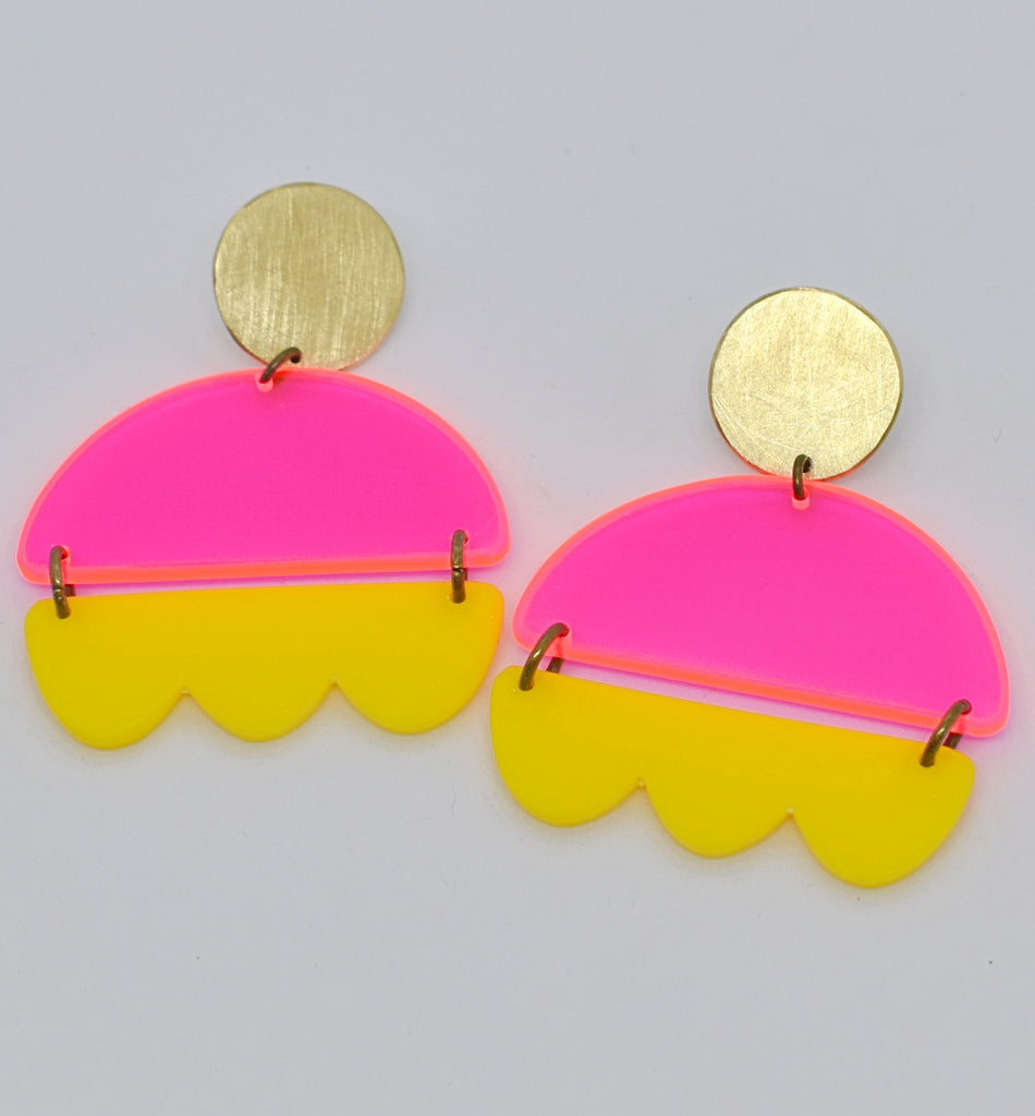 Marshall Earrings - Neon Pink and Yellow