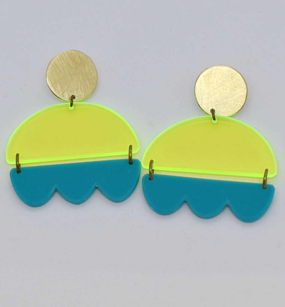 Marshall Earrings - Neon Yellow and Turquoise