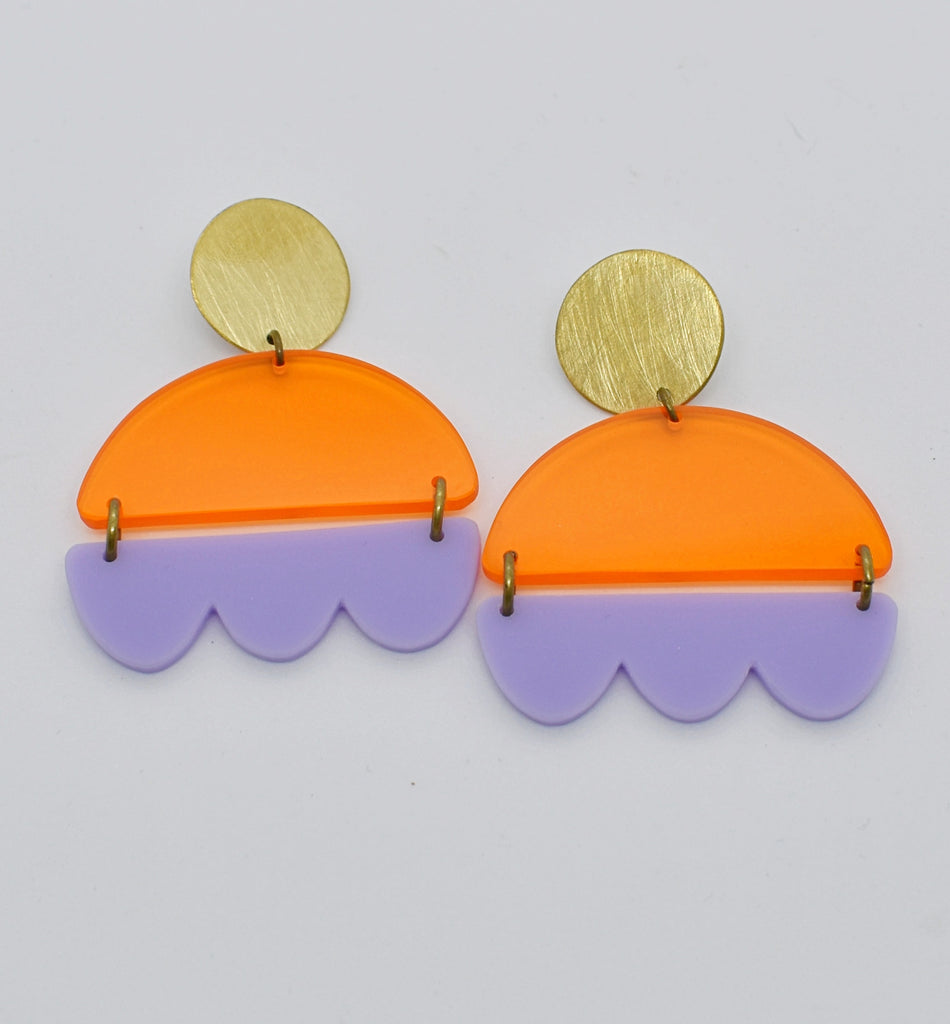 Marshall Earrings - Orange and Lilac