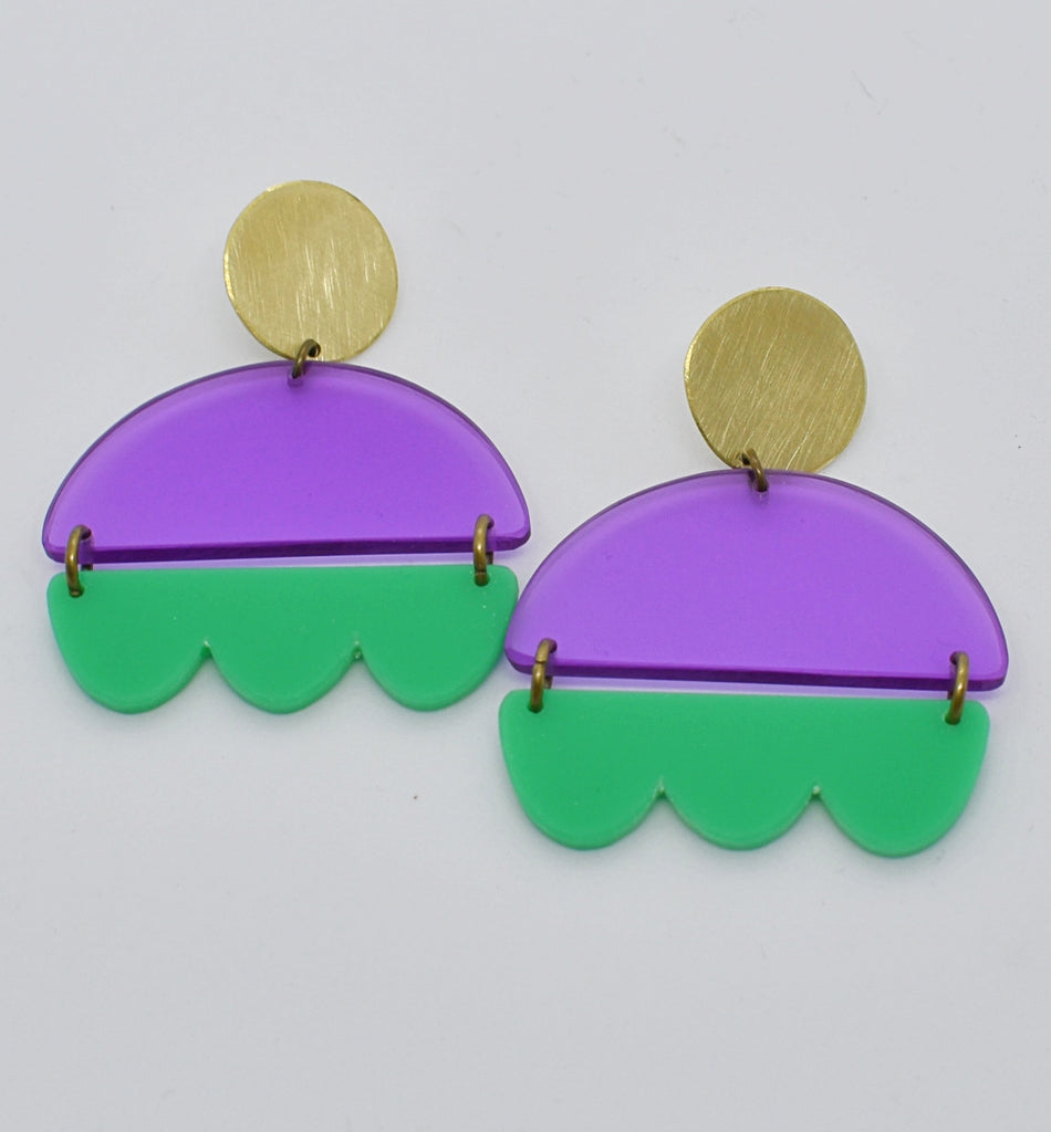 Marshall Earrings - Purple and Green
