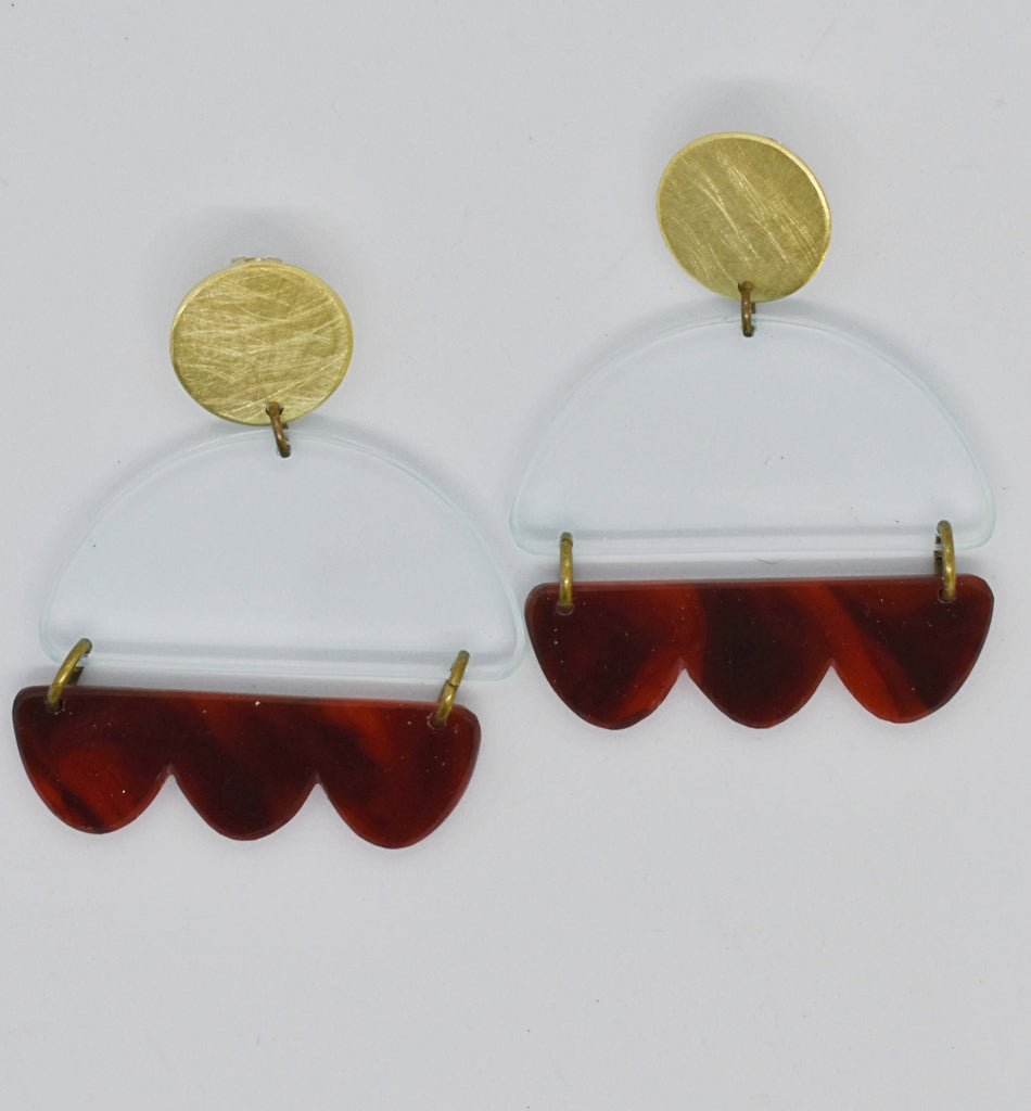 Marshall Earrings - Transparent and Tortoise Shell
