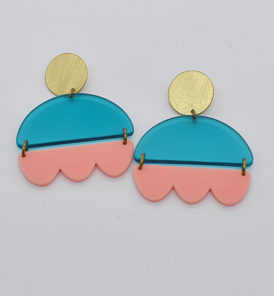 Marshall Earrings - Turquoise and Pink