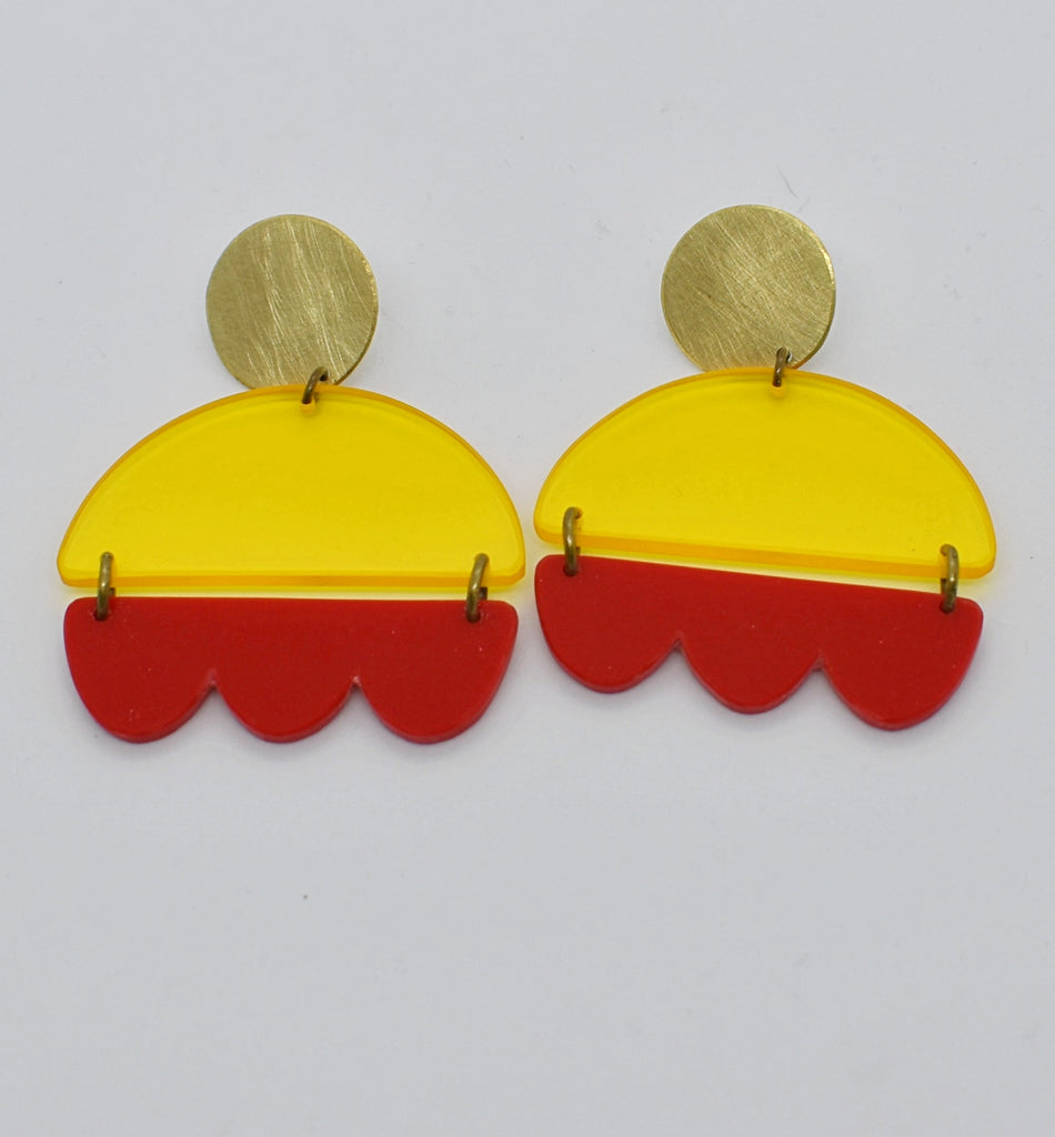 Marshall Earrings - Yellow and Red