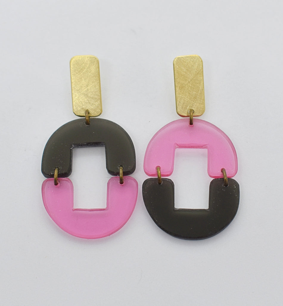 OAK Earrings - Pink Black Transparent