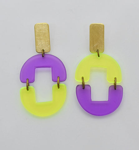 OAK Earrings - Purple Neon Yellow Transparent