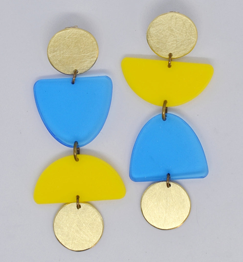 Olema Earrings - Blue and Yellow
