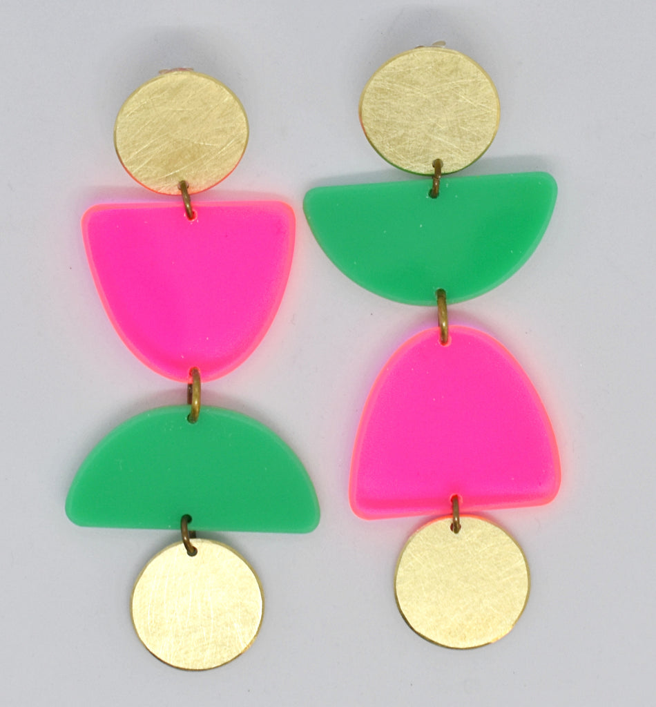 Olema Earrings - Neon Pink and Green
