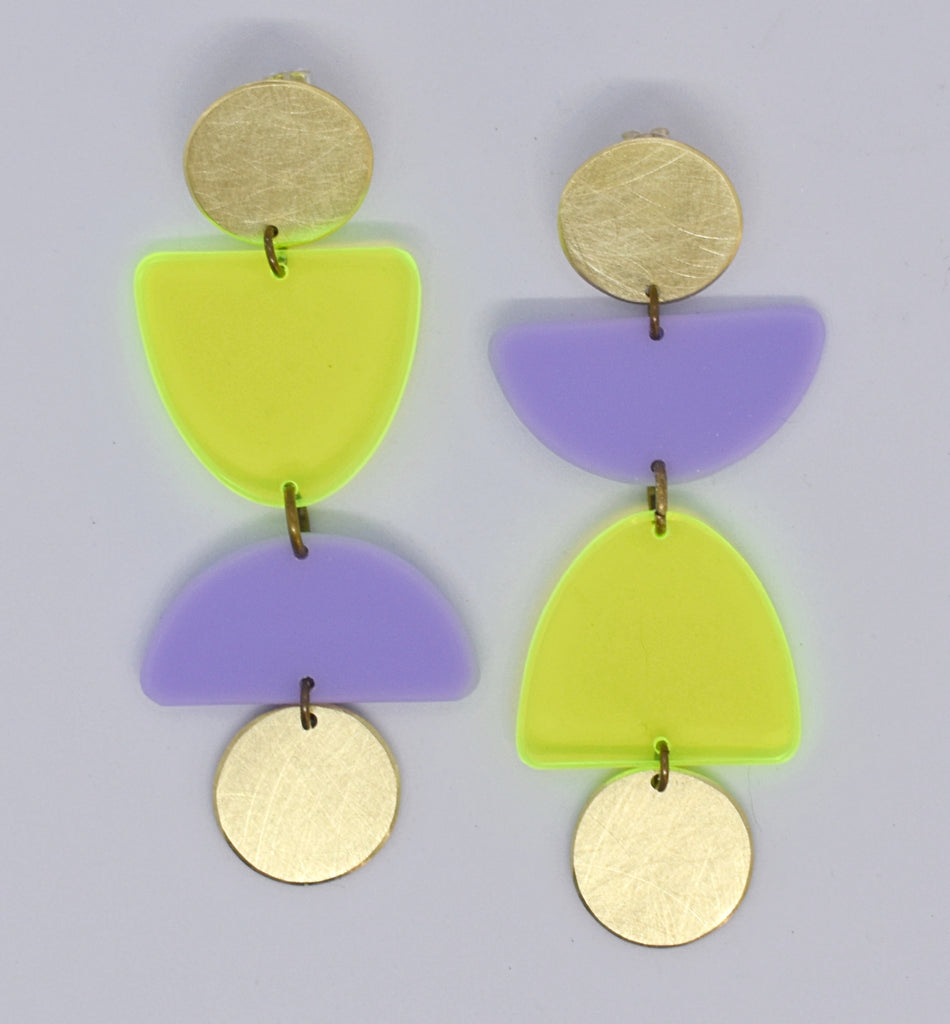 Olema Earrings - Neon Yellow and Lilac