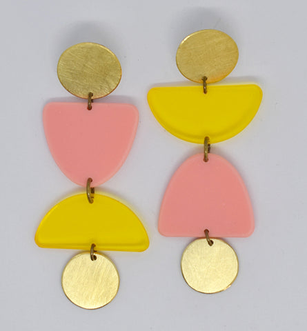 Olema Earrings - Yellow and Pink