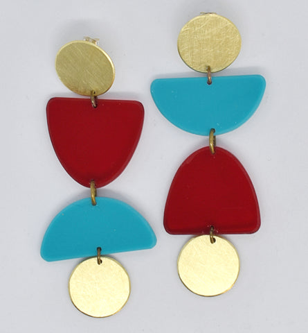 Olema Earrings - Red and Turquoise