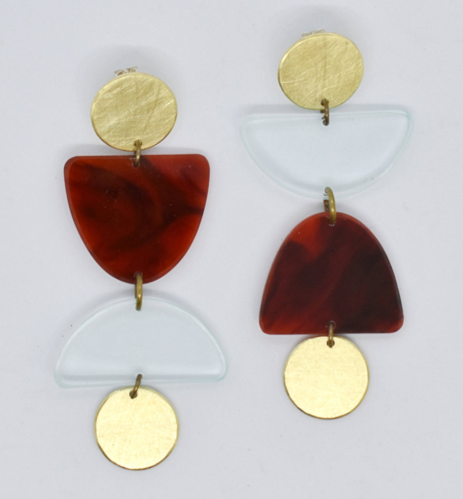 Olema Earrings - Transparent and Tortoise Shell