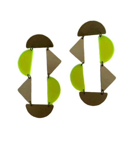 Panhandle Earrings - Neon Yellow Transparent