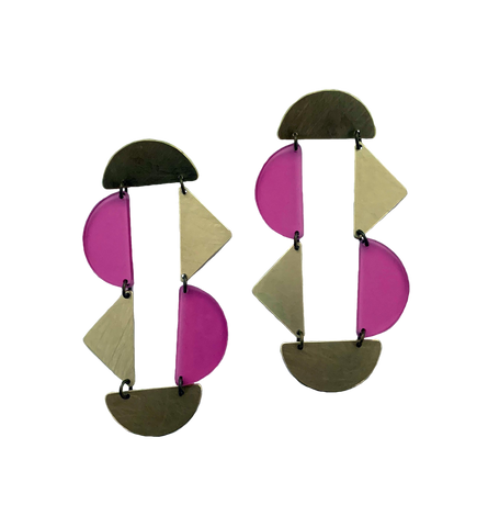 Panhandle Earrings - Pink Transparent