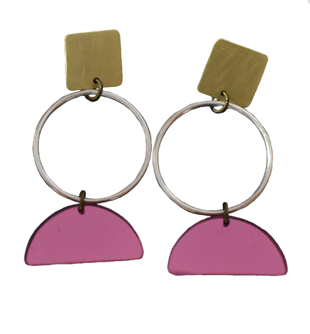 Portola Earrings - Pink Mirror