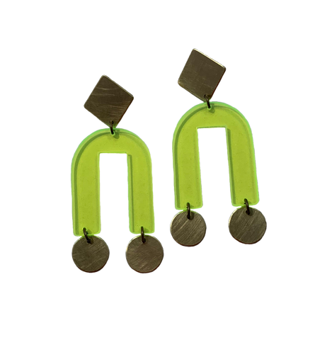 Presidio Earrings - Neon Yellow Transparent