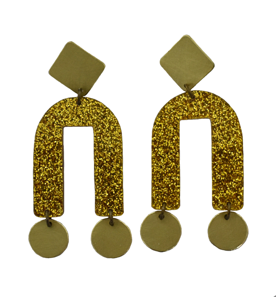Presidio Earrings - Gold Glitter