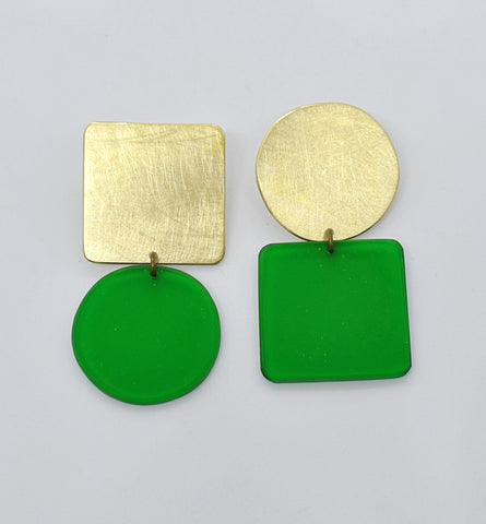 Sausalito Earrings - Green Transparent