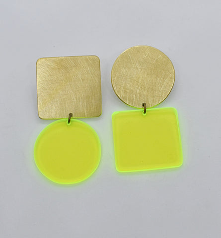 Sausalito Earrings - Neon Yellow Transparent