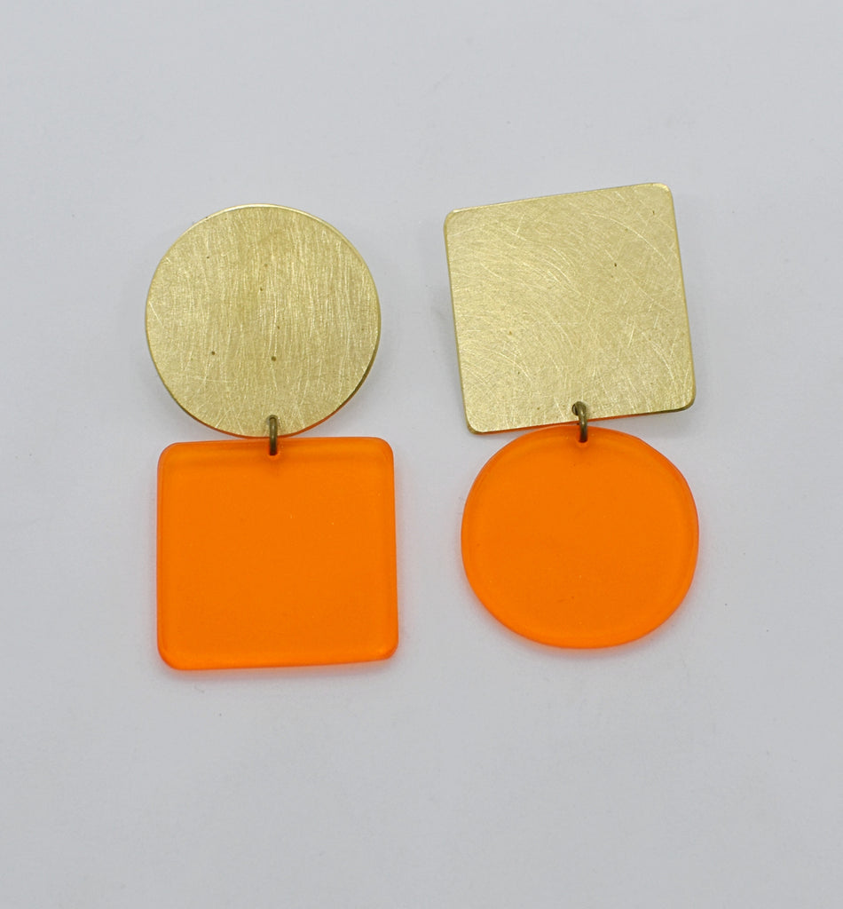 Sausalito Earrings - Orange Transparent