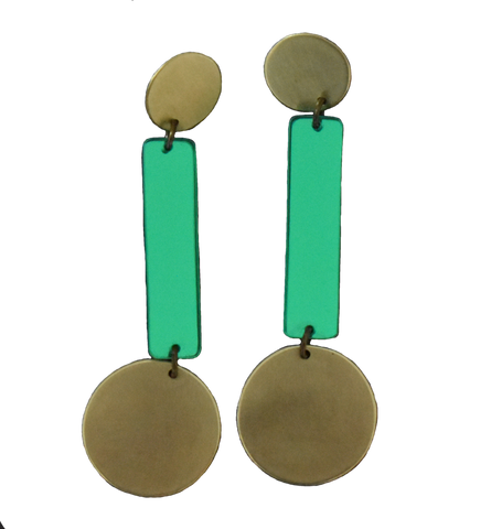 Skyline Earrings - Green Mirror