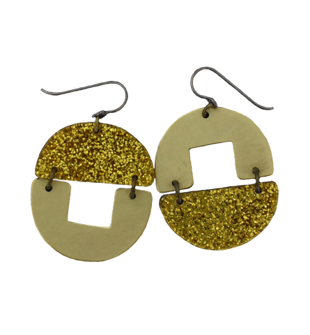 Stern Grove Earrings - Gold Glitter