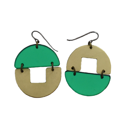 Stern Grove Earrings - Green Mirror