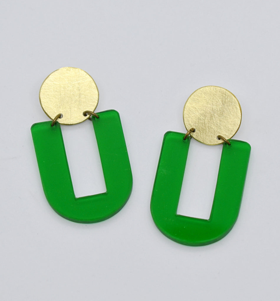 Stinson Earrings - Green Transparent