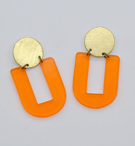Stinson Earrings - Orange Transparent