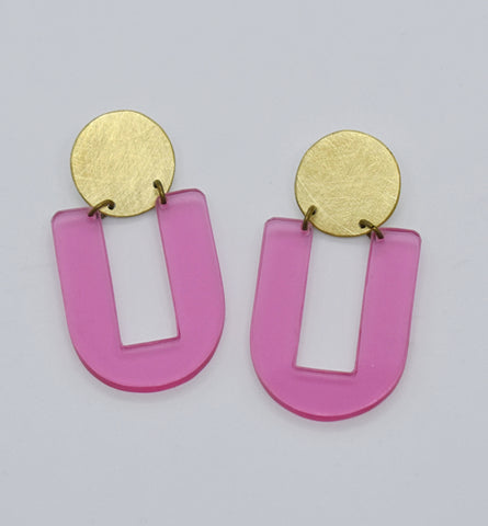 Stinson Earrings - Pink Transparent