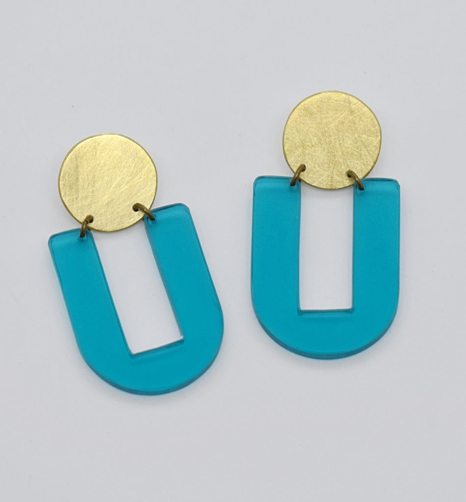 Stinson Earrings - Turquoise Transparent