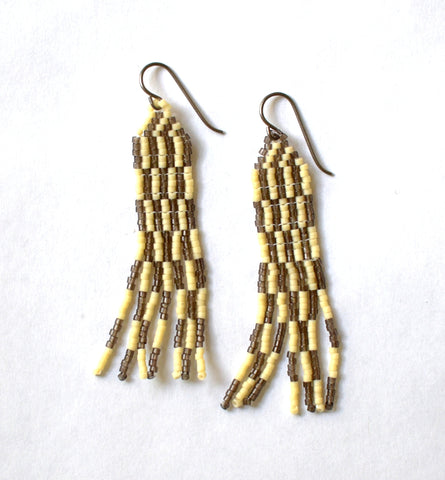 Broken stripe fringe earrings - creme and smoke