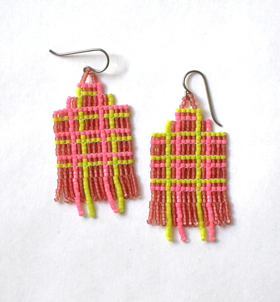 Plaid fringe earrings - brown, pink, lime