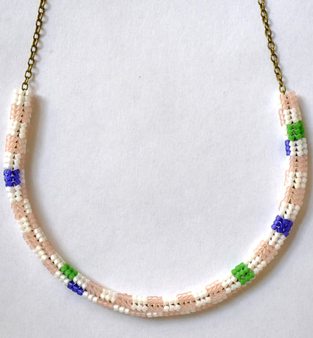 Checkerboard chain necklace - white, pink, green, purple