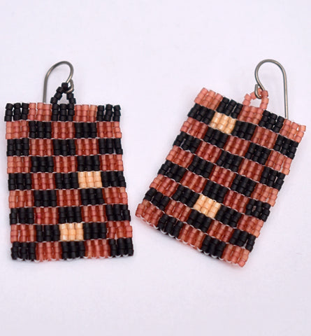 Checkerboard Earrings - Black and brown