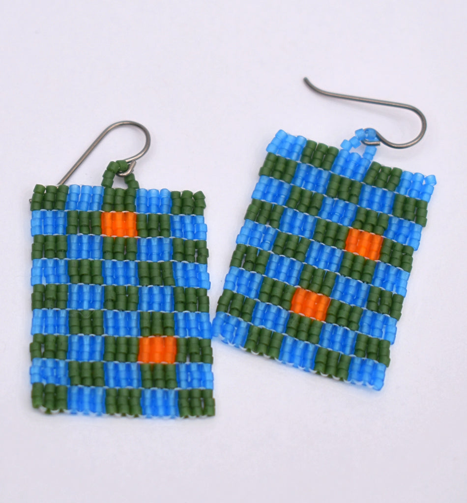 Checkerboard Earrings - Blue and green