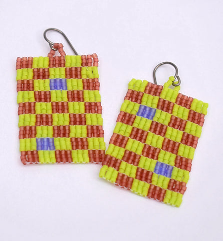 Checkerboard Earrings - Lime and brown