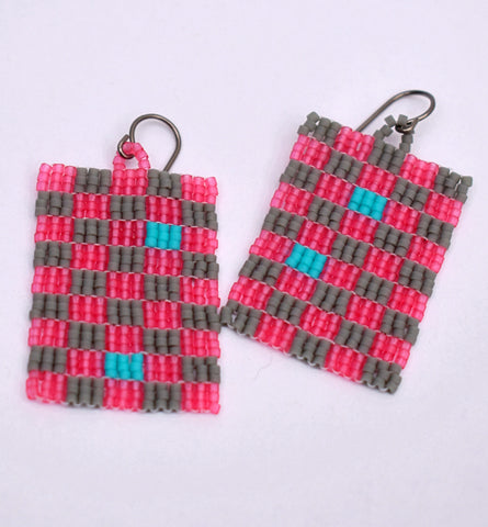 Checkerboard Earrings - Pink and grey
