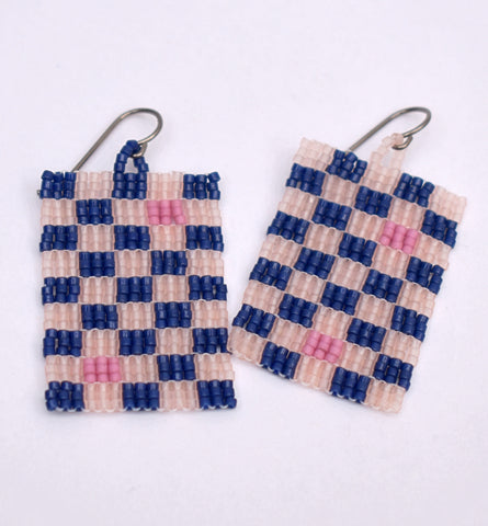 Checkerboard Earrings - Pink and navy
