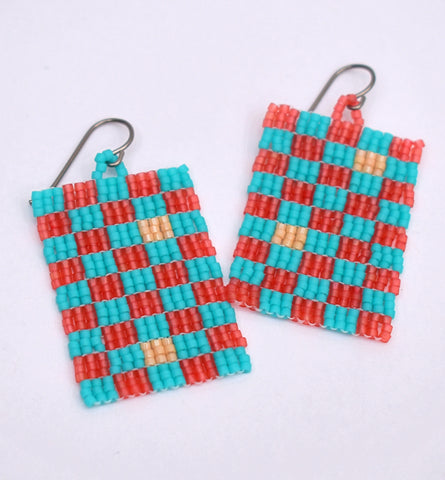 Checkerboard Earrings - Turquoise and red