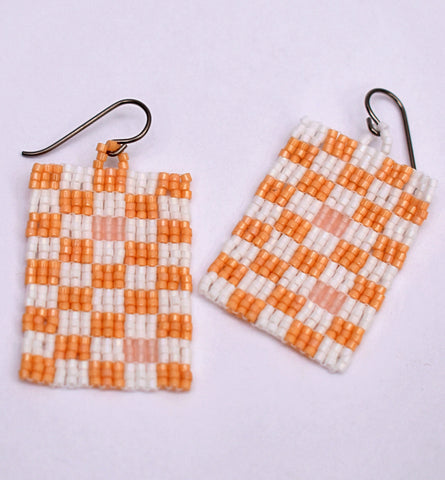 Checkerboard Earrings - White and tan