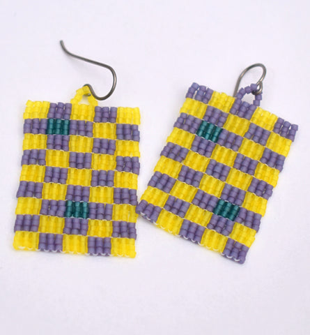 Checkerboard Earrings - Yellow and purple