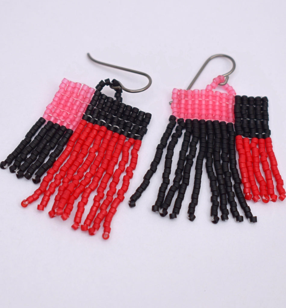 Colorblock Fringe Earrings - Black and Red