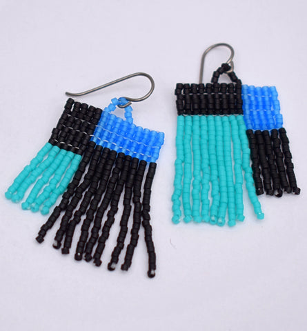 Colorblock Fringe Earrings - Black and Blue