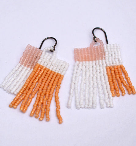 Colorblock Fringe Earrings - White and Tan